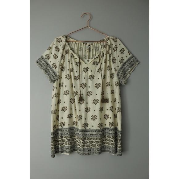 ffaaeb12a8f5a5 Lucky Brand Tops | 1x Border Knit Top Shirt Tassels Boho | Poshmark